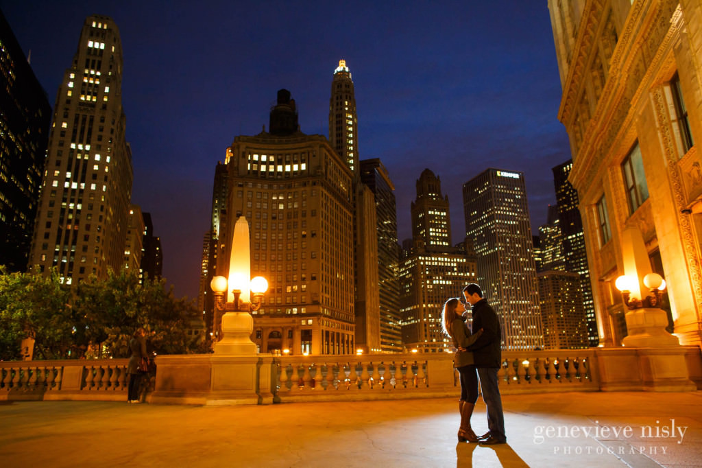 Chicago, Copyright Genevieve Nisly Photography, Engagements, Illinois, Michigan Avenue Bridge, Summer