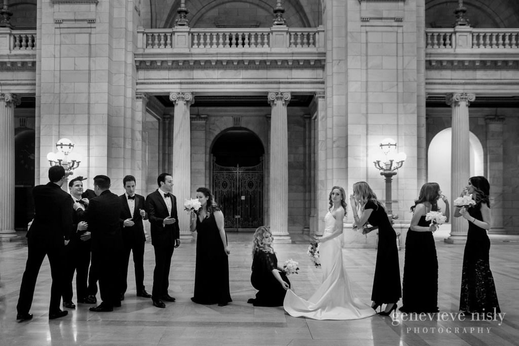 Bridal party portrait at the Cleveland Courthouse.