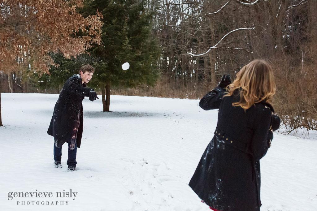 A snowball fight at Boettler Park.