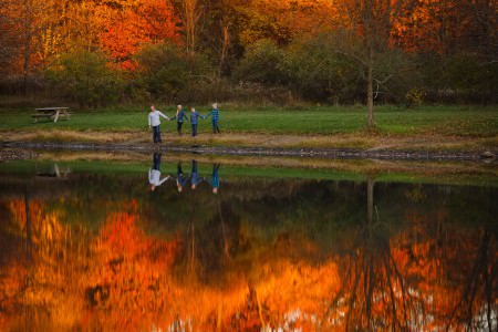 A stunning picture of a family of four all holding hands and wearing jeans with blue plaid shirts standing in the left center of the photo during fall time with a background full of trees with bold orange leaves and green grass that is also reflecting in a pond in the bottom portion of the photo.