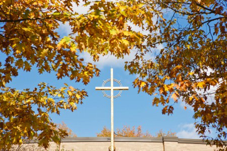 A picture of the white cross on the top of the St. Mary centered in the lower half of the photo with a bright blue sky behind it and framed around the cross in the foreground is bright yellow and orange leaves which are slightly out of focus.