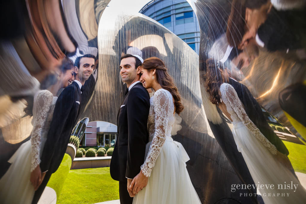 Wedding couple portrait in a sculpture for their Cleveland Intercontinental hotel wedding.