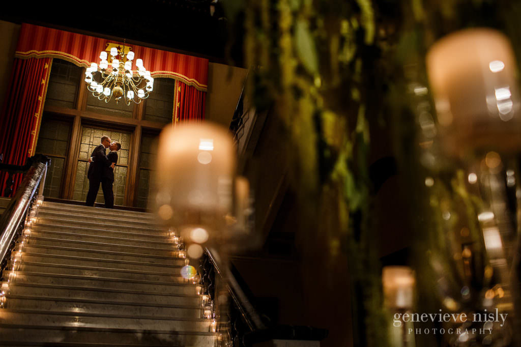 Michael and Chris at the top of the grand staircase during their Cleveland wedding at the Union Club in Euclid Avenue.
