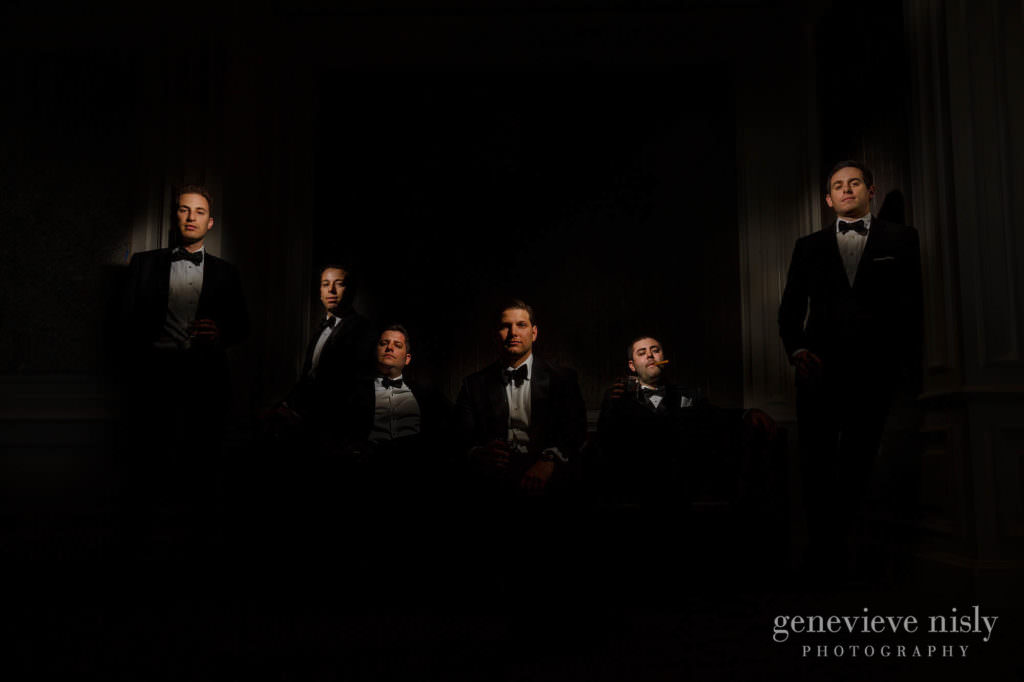 Dramatic portrait of Max and his groomsmen.