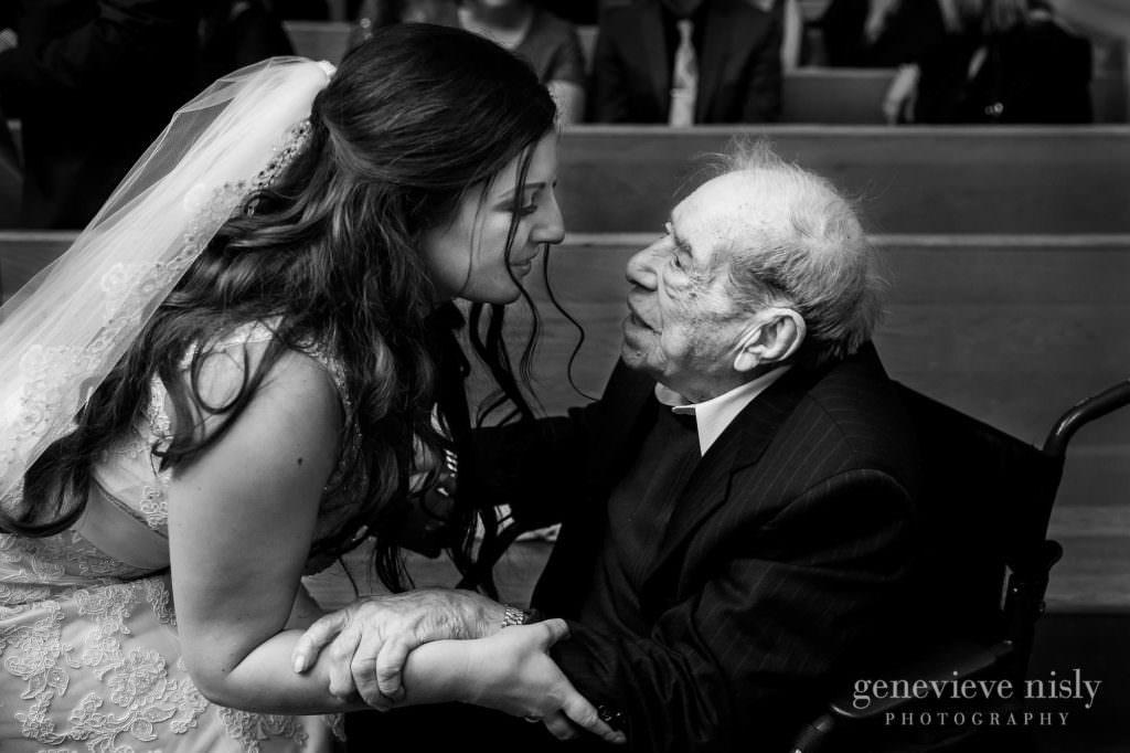 Bride greets her grandfather after the wedding ceremony.
