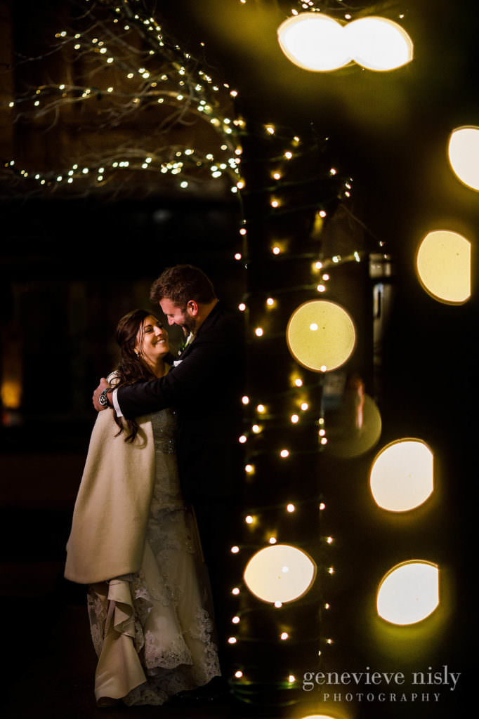 Outdoor night photo of the bride and groom in Canton, Ohio.
