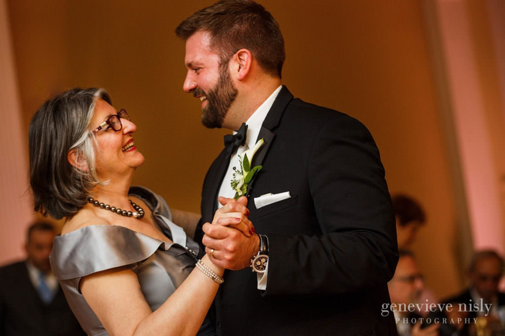 Mother son dance at the wedding reception.