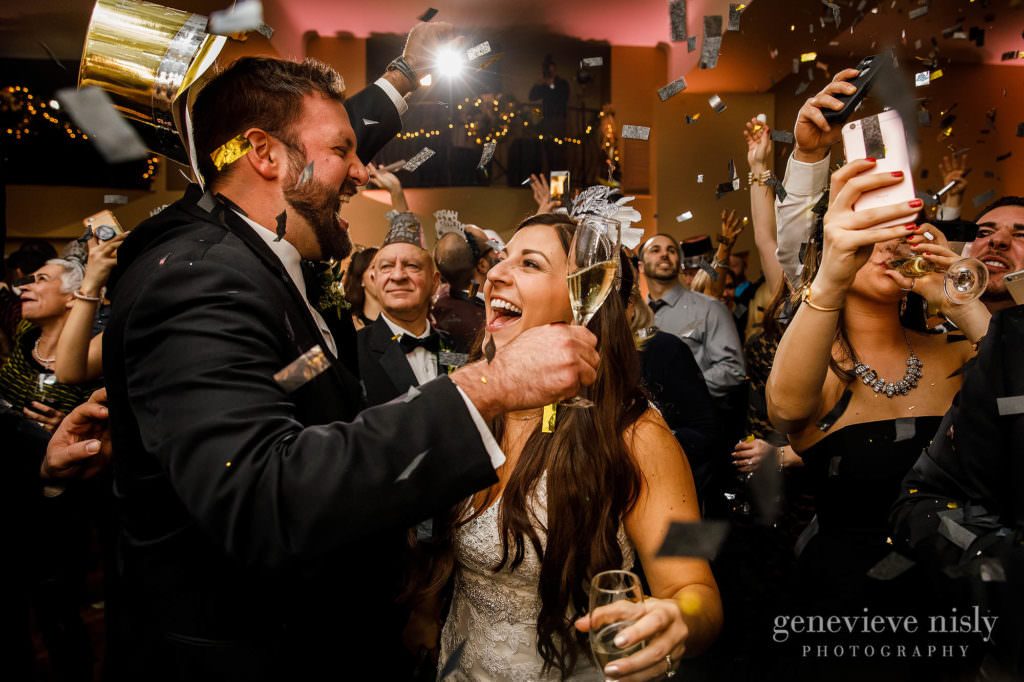 Bride and groom celebrate New Years Eve during the wedding at The Historic Onesto.