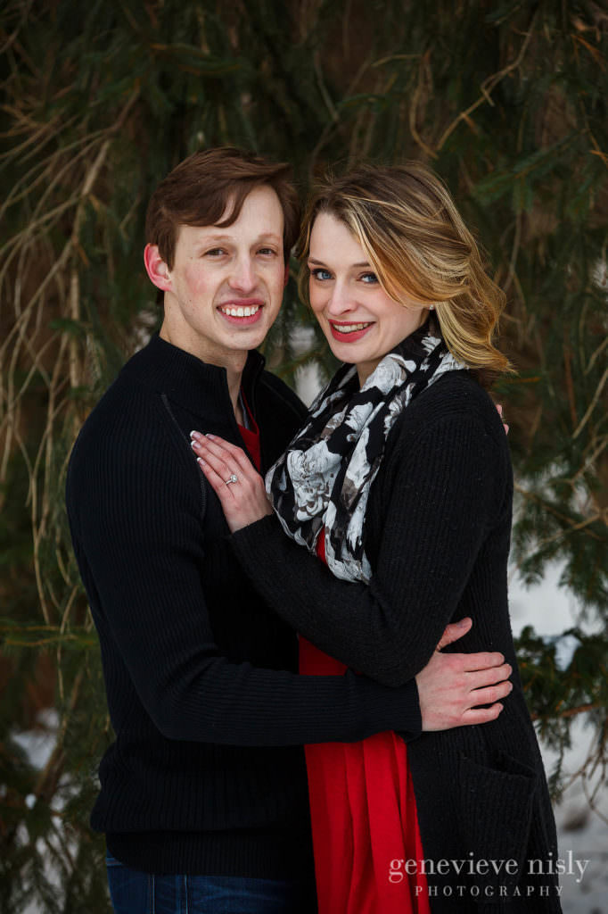 Portrait of Michael and Jacee  during their winter engagement session at Boettler Park.
