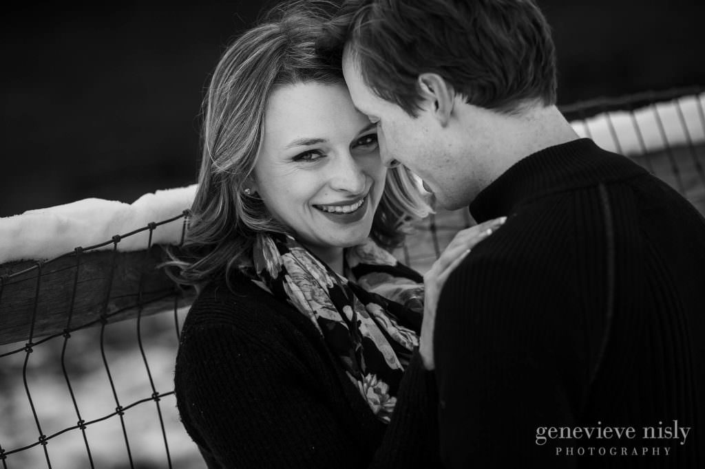 Jacee smiles at the camera during their Green, Ohio engagement session.