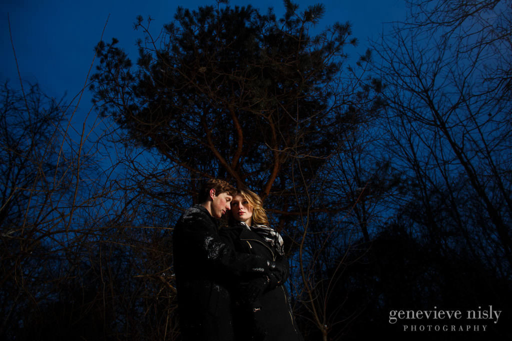 Off camera light engagement photo in Green, Ohio.