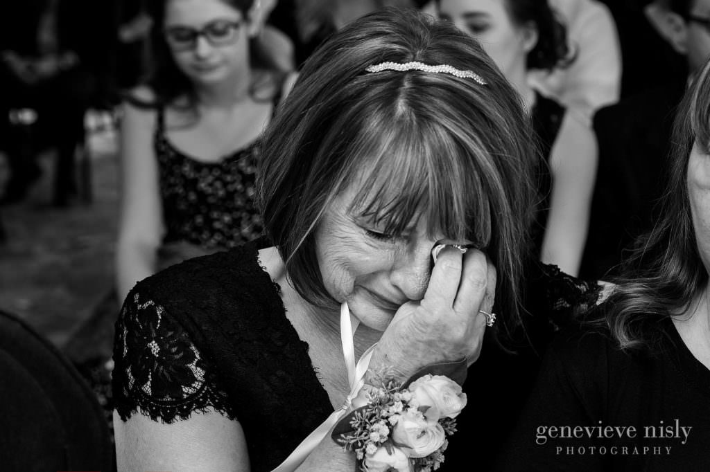 The bride's mom get teary-eyed during the wedding ceremony at Mooreland Mansion.