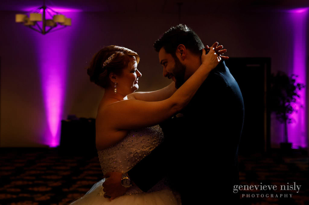 The bride and groom share their first dance at the Holiday Inn in Cleveland.