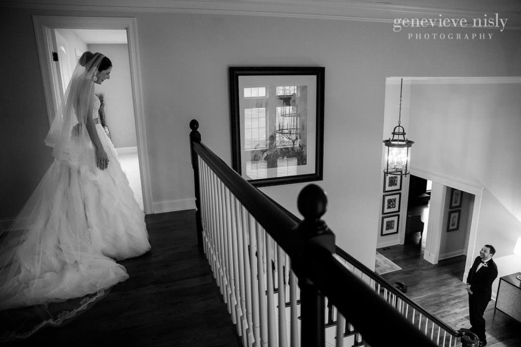 The bride sees her groom for the first time.