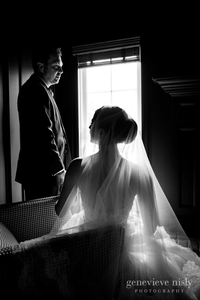 Black and white of the bride and groom on their wedding day.