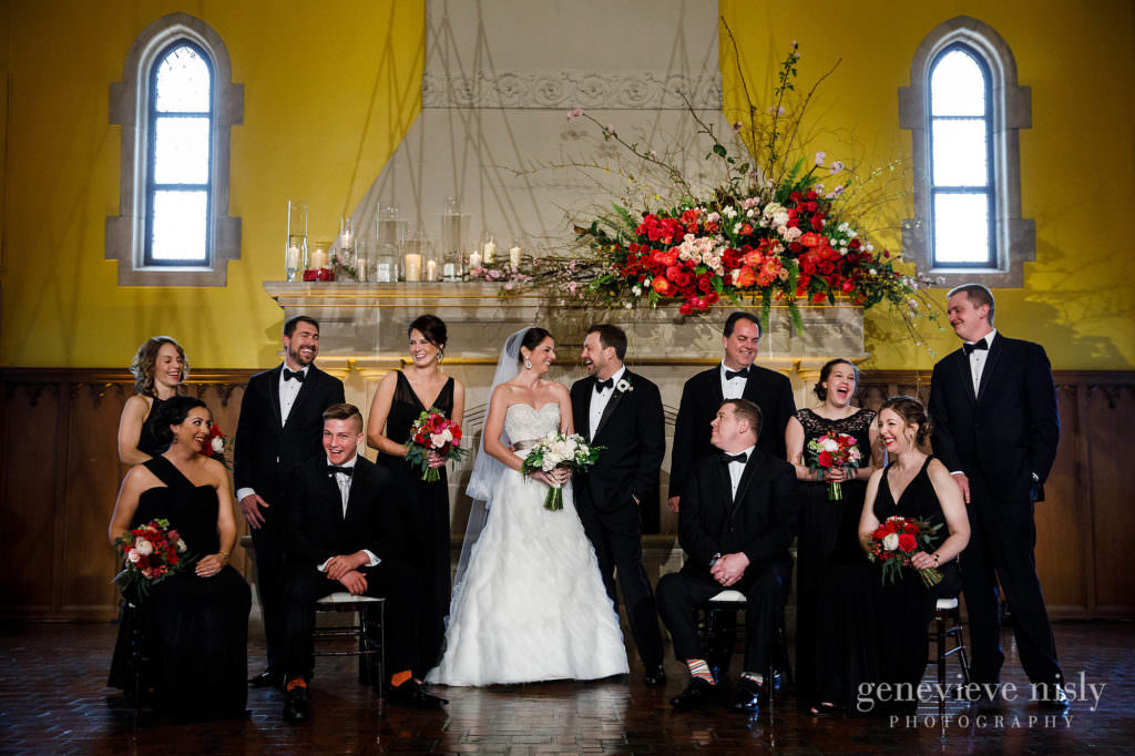 Bridal party in front of the hearth at Glenmoor Country Club in Canton, Ohio.
