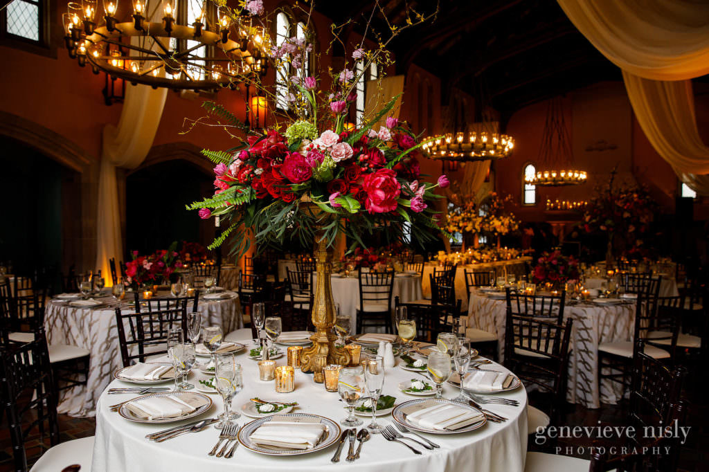 The reception floral decor my Twigs and Twine at Glenmoor Country Club in Canton, Ohio.