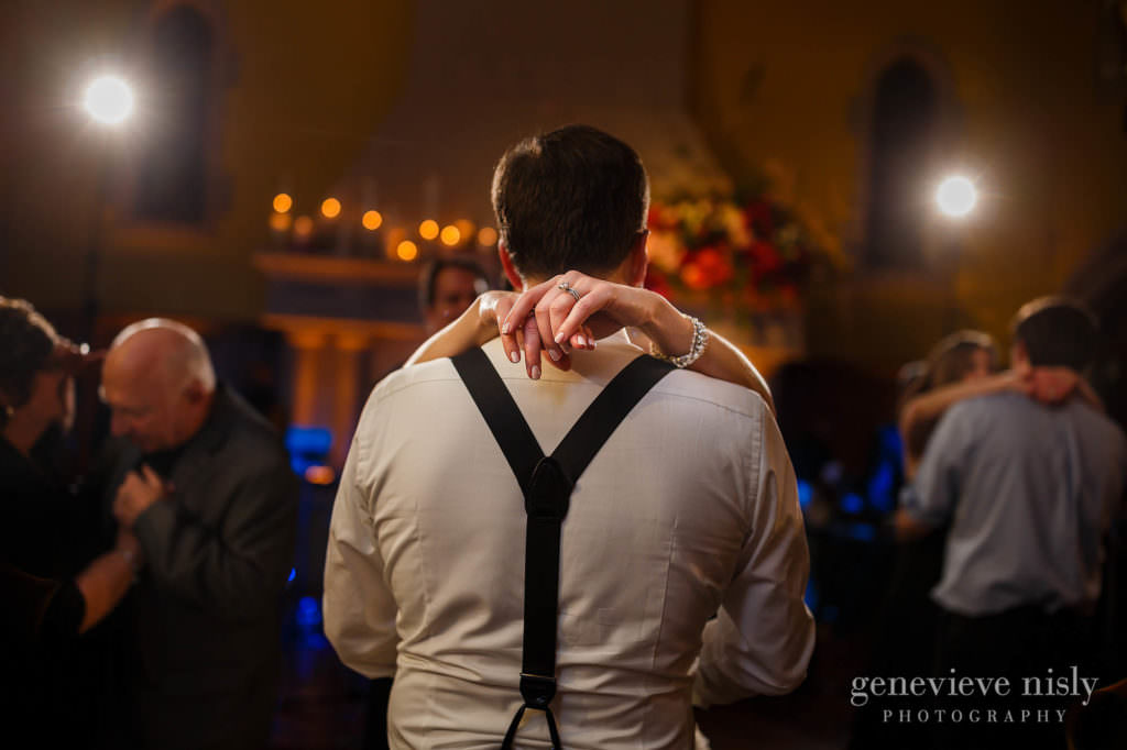 Bride and groom dance together during the reception at Glenmoor Country Club.
