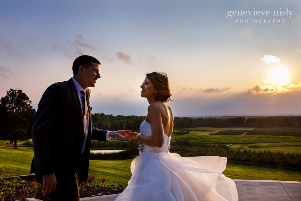 Allan and Svetlana share a moment together as the sun sets during their reception at Mapleside Farms in Cleveland, Ohio.