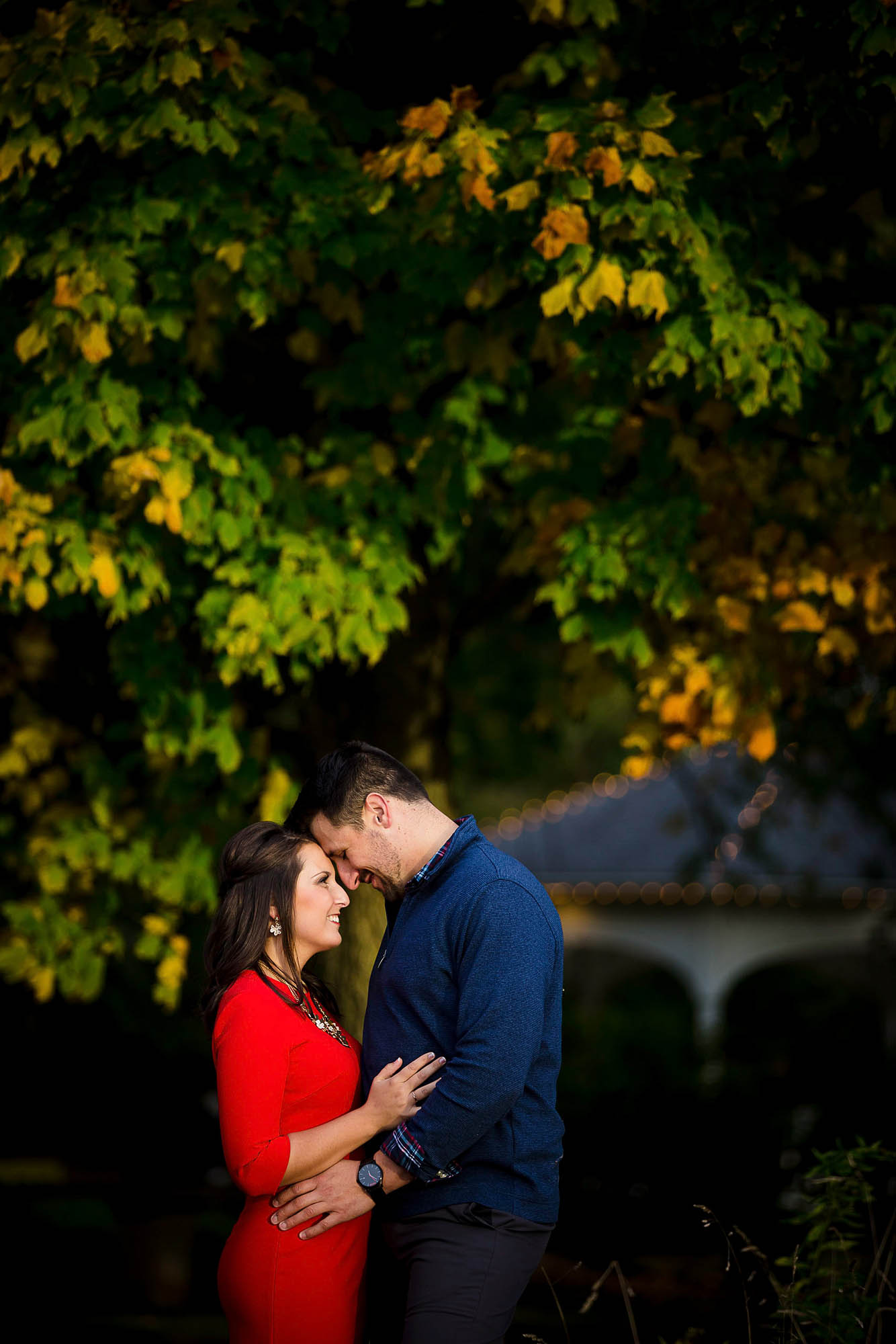 A picture of an engaged couple from the waist up standing with their foreheads together where the woman is in red and the man in dark blue and they are leaning against a stone wall with green leaves behind them in New Philadelphia, Ohio.