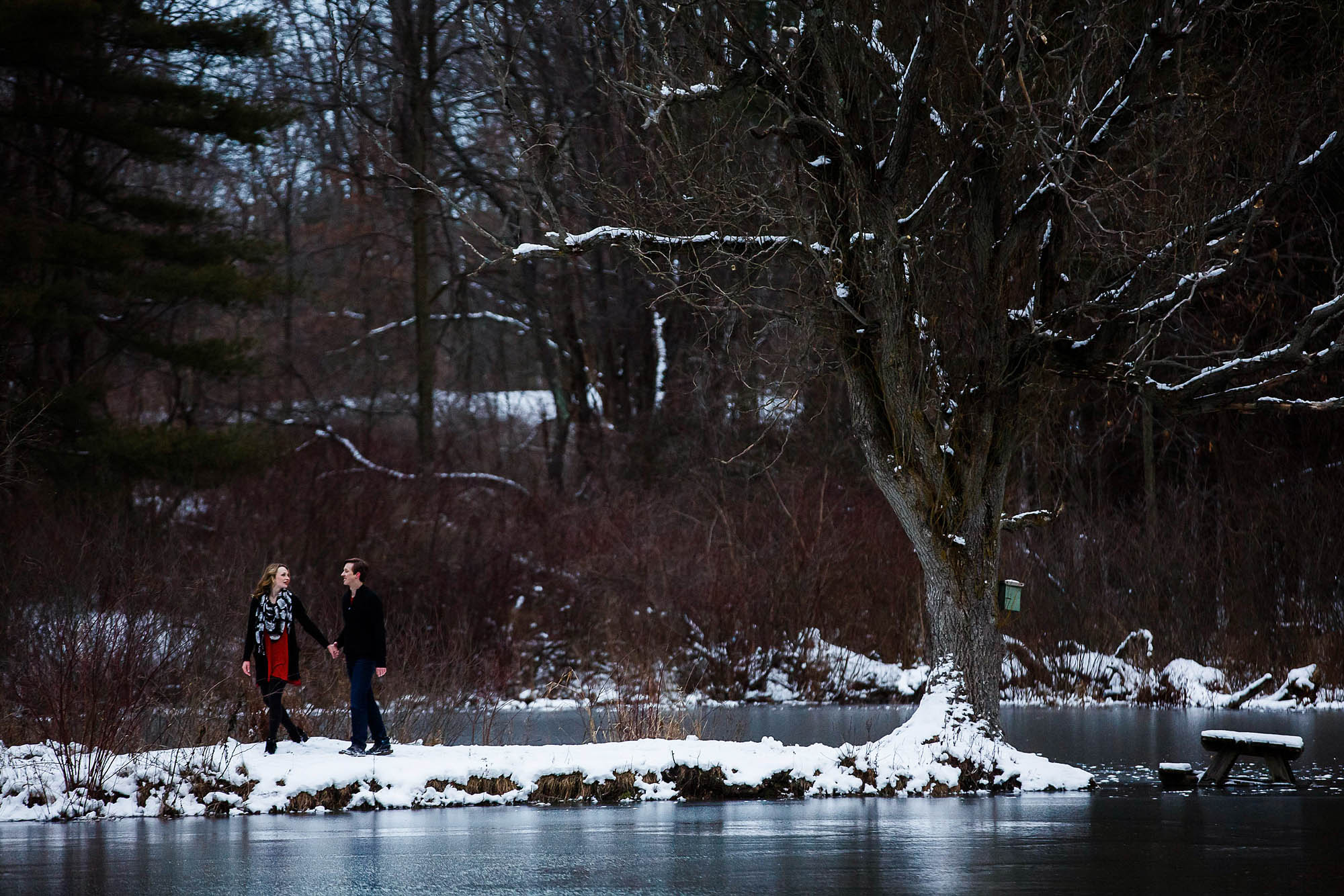 A picture of an engaged couple walking hand in hand outside on a winter day with a lake in front of them and snowy bare tree branches above them at Boettler Park in Ohio.
