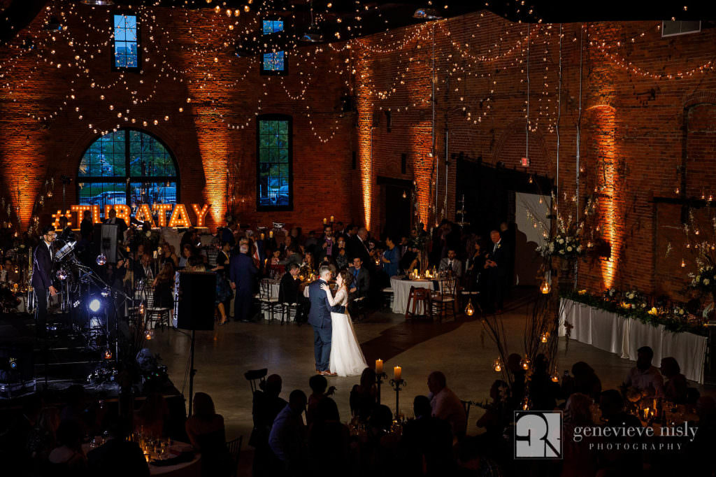 Lauren and Adam share their first dance during their reception at their wedding at Tenk West Bank in Cleveland, Ohio.