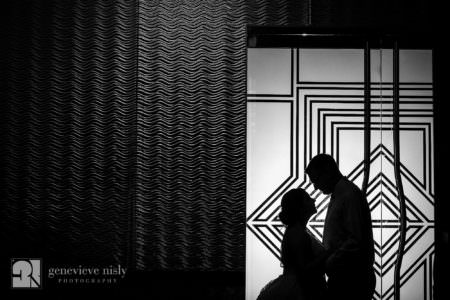 Silhouette of Matthew and Roberta on their wedding day at Landerhaven in Cleveland, Ohio.