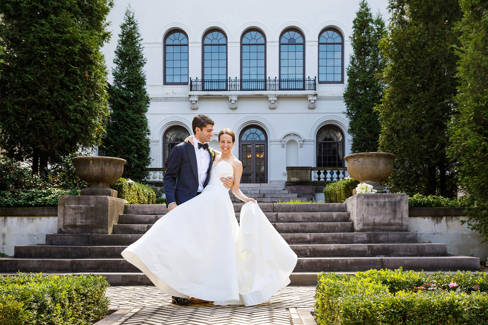 As experienced Cleveland wedding photographers, we seek out beautiful and unique locations for our brides and grooms on their wedding days. This bride and groom had a personal connection with the Western Reserve Historical Society so it was the perfect location for their bridal party portraits.